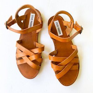 NWOB Steve Madden Brown Cognac Leather Sandals